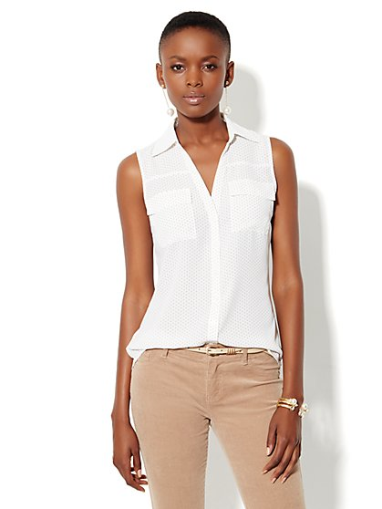 Mercer Soft Shirt - Sleeveless - Dots - New York & Company