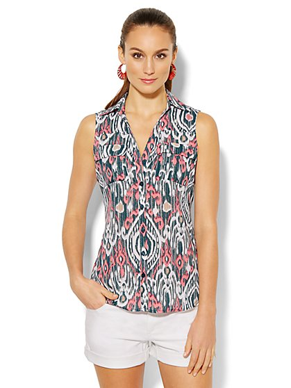 Mercer Soft Shirt - Sleeveless - Ikat Print - New York & Company