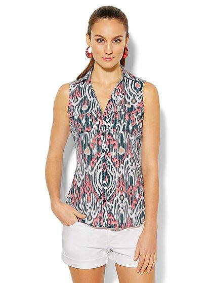 Mercer Soft Shirt - Sleeveless - Ikat Print - New York & Company