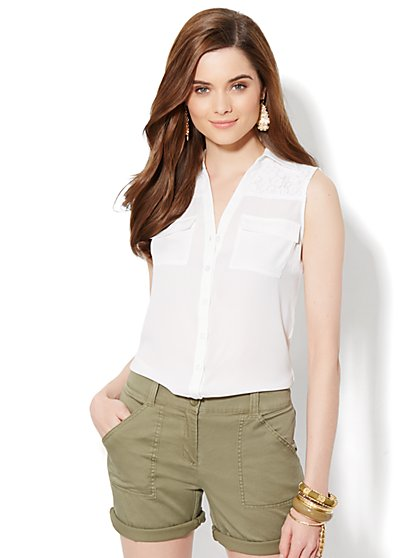 Mercer Soft Shirt - Sleeveless -Lace Detail