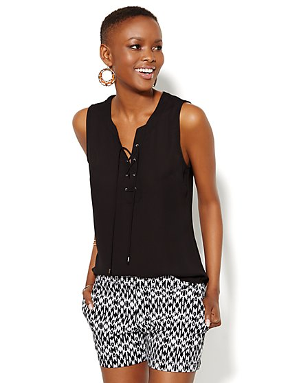 Mercer Soft Shirt - Sleeveless - Lace-Up - New York & Company