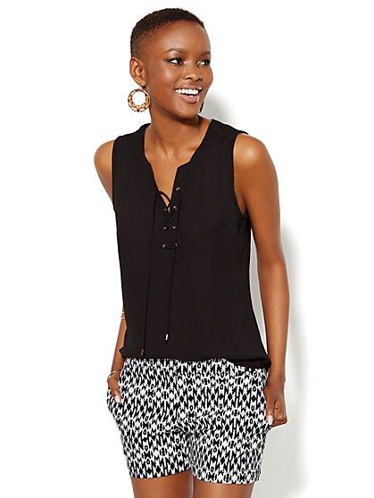 Mercer Soft Shirt - Sleeveless - Lace-Up - New York & Company