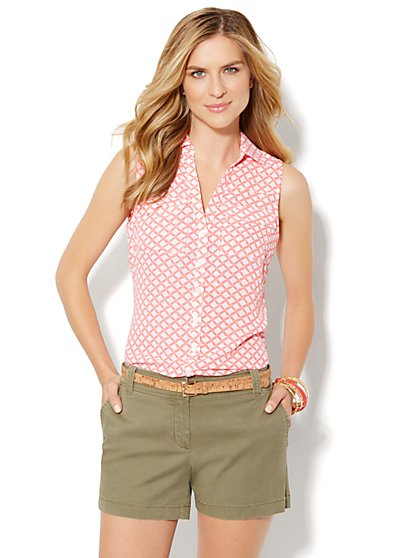 Mercer Soft Shirt - Sleeveless - Lattice Print
