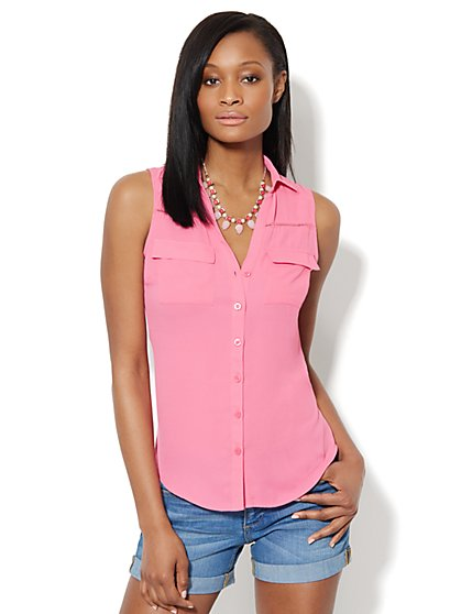 Mercer Soft Shirt - Sleeveless - Open-Stitch Trim