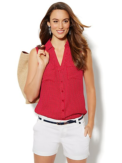 Mercer Soft Shirt - Sleeveless - Polka- Dot  - New York & Company