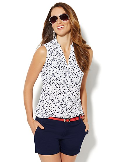 Mercer Soft Shirt - Sleeveless - Star Print - New York & Company