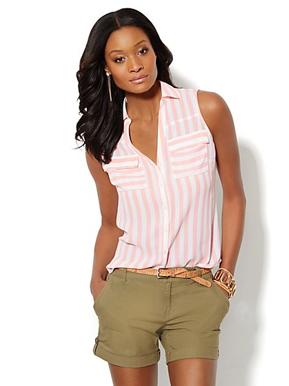 Mercer Soft Shirt - Sleeveless - Striped  - New York & Company