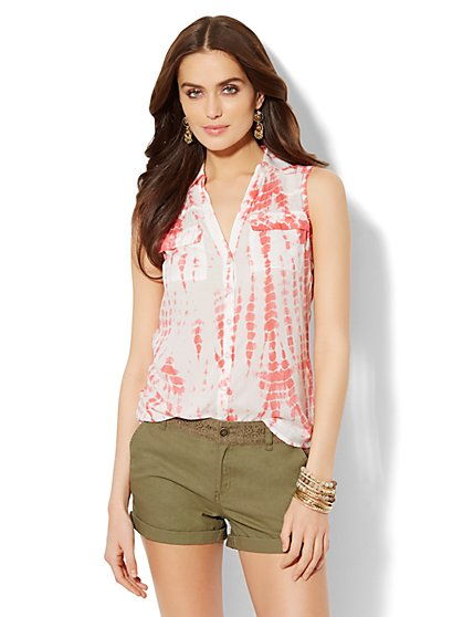 Mercer Soft Shirt - Sleeveless - Tie-Dye Print  - New York & Company