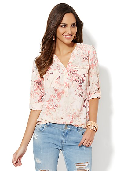 Mercer Soft Shirt - Split-Neck - Floral Print - New York & Company