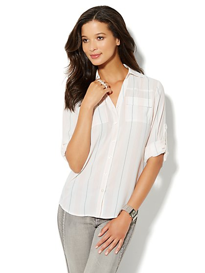 Mercer Soft Shirt - Stripe - New York & Company