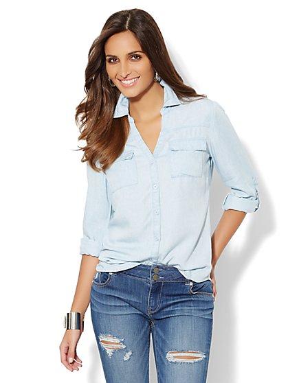 Mercer Soft Shirt - Super-Soft Chambray - Paisley - New York & Company