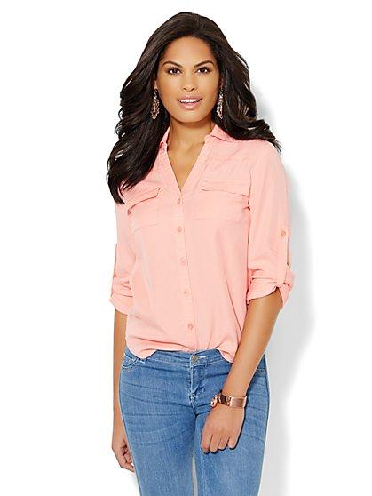Mercer Soft Shirt - Super-Soft Chambray - Solid - New York & Company