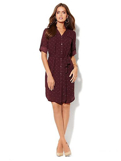 Mercer Soft Shirtdress - Dot Print - New York & Company