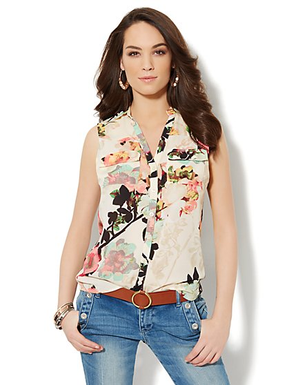 Mercer Soft Sleeveless Shirt - Floral  - New York & Company