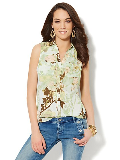 Mercer Soft Sleeveless Shirt - Floral  - New York & Company