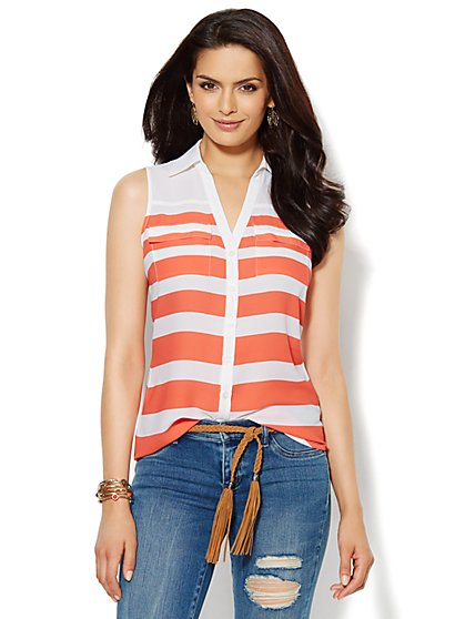 Mercer Soft Sleeveless Shirt - Stripe - New York & Company