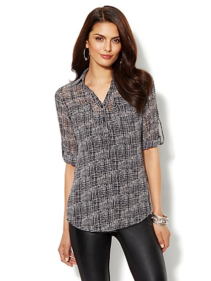 Mercer Soft Tunic - Abstract Cross-Hatch Print - New York & Company