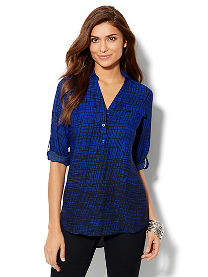 Mercer Soft Tunic - Cross-Hatch Print - New York & Company