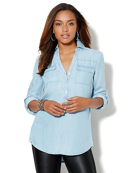 Mercer Soft Tunic - Indigo Blue Wash - New York & Company