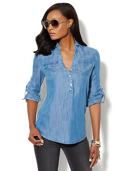 Mercer Soft Tunic - Indigo Blue Wash