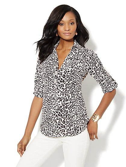 Mercer Soft Tunic - Leopard Print  - New York & Company