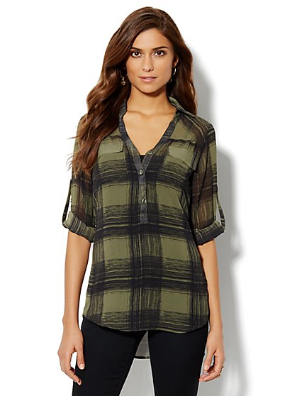 Mercer Soft Tunic - Plaid - New York & Company