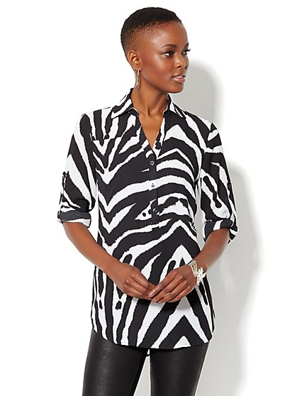 Mercer Soft Tunic - Zebra Print  - New York & Company