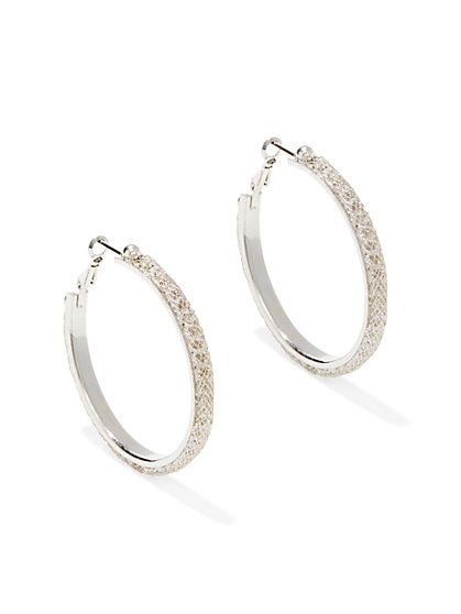 Mesh-Accent Metallic Hoop Earring  - New York & Company