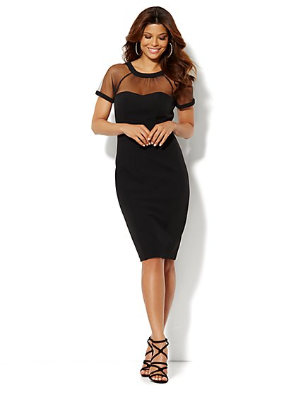 Mesh-Accent Sheath Dress  - New York & Company