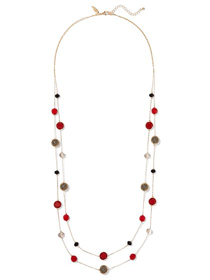 Mesh Bead 2-Row Necklace  - New York & Company