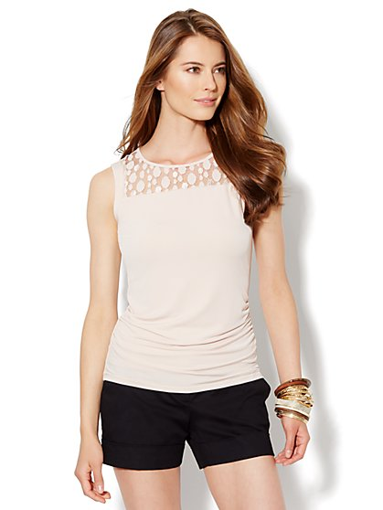 Mesh-Dot Trim Knit Top