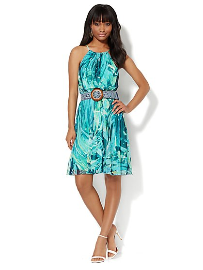 Mesh Halter Dress - Tropical Print  - New York & Company