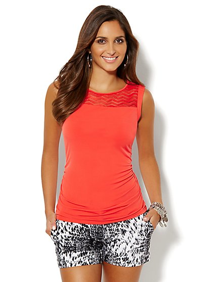 Mesh Inset Sleeveless Top  - New York & Company