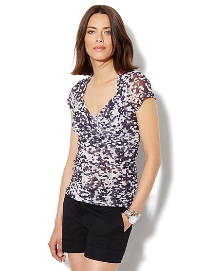 Mesh-Knit Pleat Top - Abstract Print