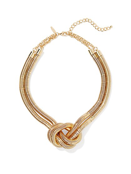 Mesh-Knot Golden Necklace - New York & Company