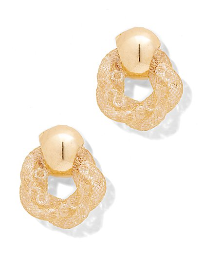 Mesh Knot Post Earring  - New York & Company
