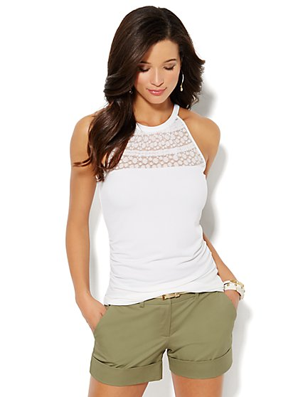 Mesh & Lace Panel Halter Top  - New York & Company