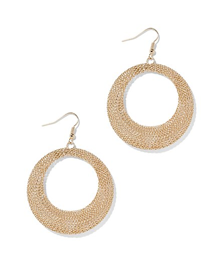 Mesh Open-Hoop Earring  - New York & Company
