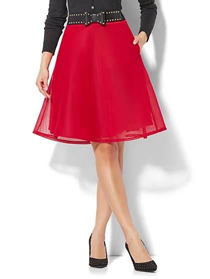 Mesh-Overlay Circle Skirt - New York & Company