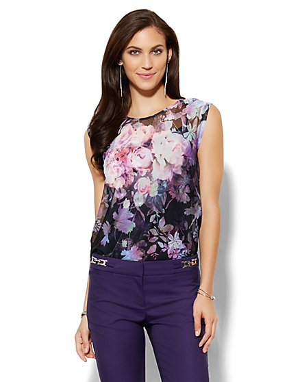 Mesh Overlay Top - Floral  - New York & Company