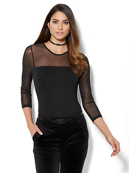 Mesh-Panel Bodysuit  - New York & Company