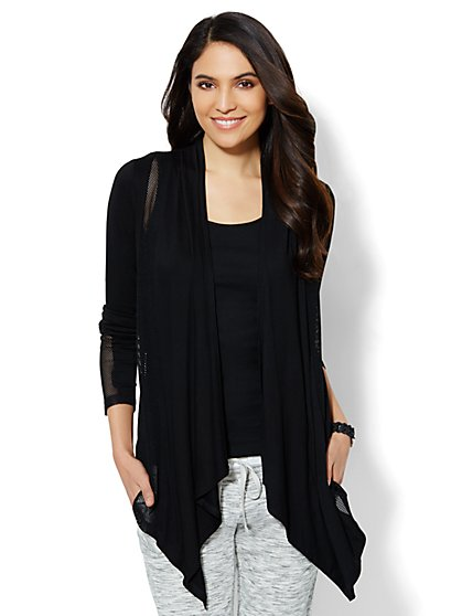 Mesh-Panel Flyaway Cardigan  - New York & Company
