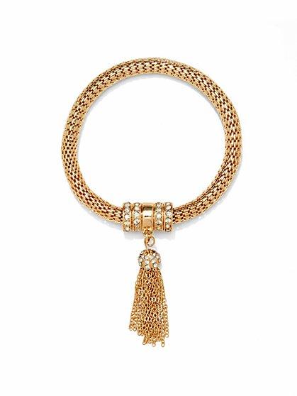 Mesh Pavé Tassel Bracelet   - New York & Company