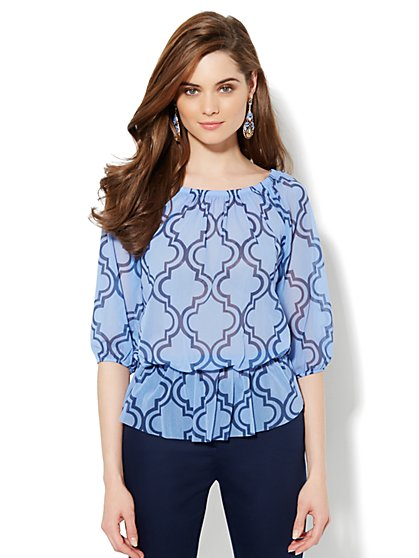 Mesh Peasant Top - Abstract Print