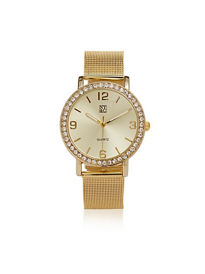 Mesh-Strap Pavé Watch - New York & Company