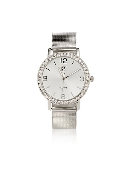 Mesh-Strap Pave Watch