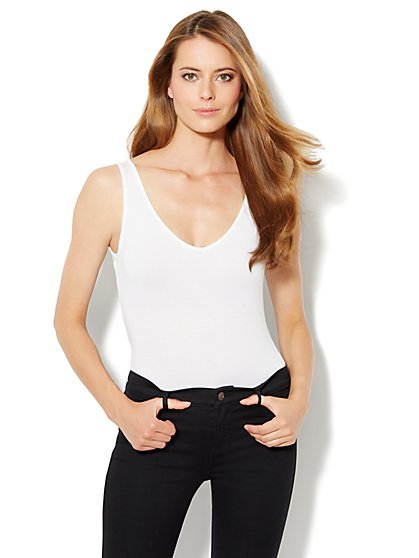 Mesh-Trim Bodysuit - New York & Company