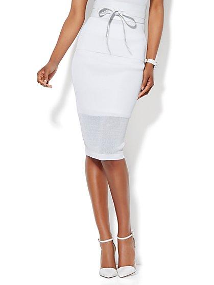 Mesh-Trim Knit Pencil Skirt  - New York & Company