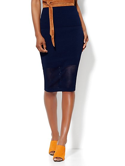 Mesh-Trim Knit Pencil Skirt  - New York & Company