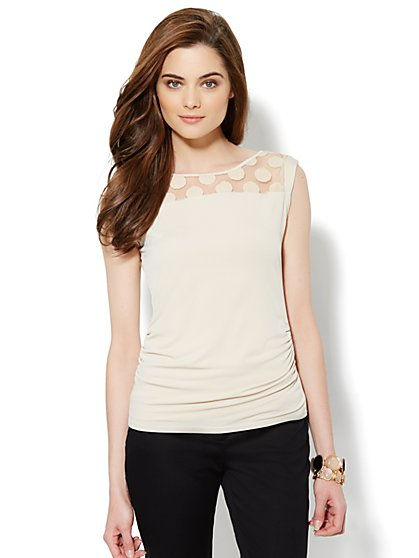 Mesh-Trim Side-Shirred Tee
